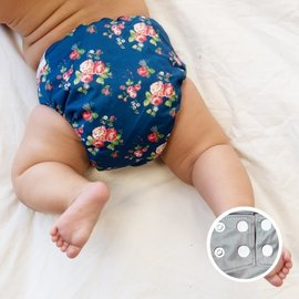 La Petite Ourse One-Size Snap Diaper, Vintage Flower