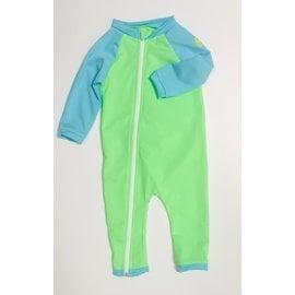 NoZone Lime/Aquatic Full Zip Baby Swimsuit