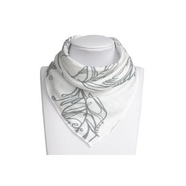 Nest Designs Feather White Bamboo Bandana Bib