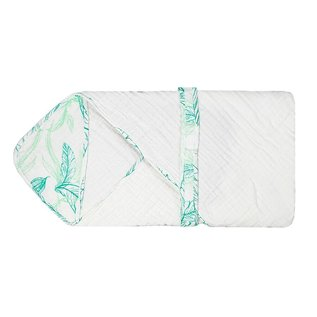 Nest Designs Leaves Green 9-Layer Organic Cotton Hooded Towel Wrap