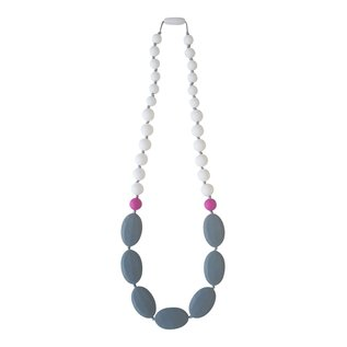 Momzelle Nursing Necklace, Grey/White