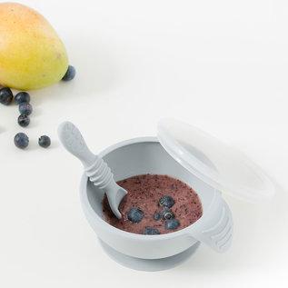 Grey Silicone Bowl, Lid & Spoon Set