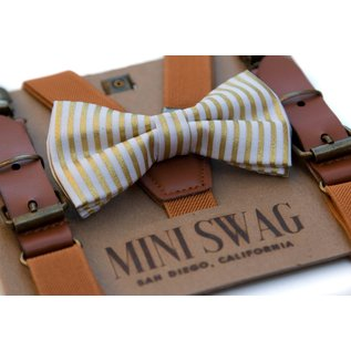 Mini Swag Gold Stripe Bow Tie & Camel Leather Suspenders Set