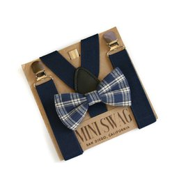 Mini Swag Navy Plaid Bow Tie & Navy Leather Suspenders Set