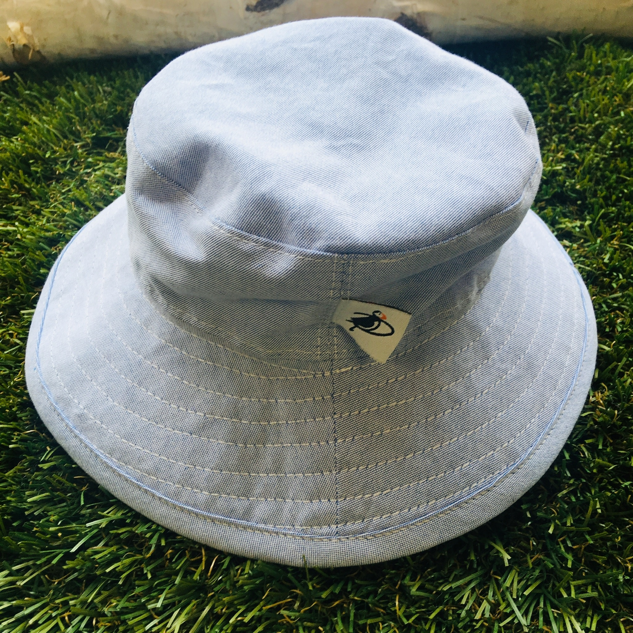 b664eb88 Blue Cotton Oxford Sunbaby Hat - Sweetpea Wholesome Baby