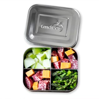 Lunchbots Pink Quad Stainless Bento Lunch Box