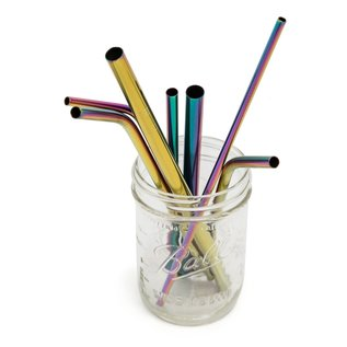 Rainbow Stainless Regular Long Straw