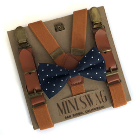 Mini Swag Navy Dot Bow Tie & Camel Leather Suspenders Set