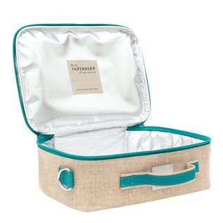 SoYoung Teal Narwhal Raw Linen Lunchbox