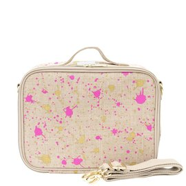 SoYoung Fuchsia and Gold Splatter Raw Linen Lunchbox