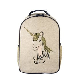 SoYoung Lucky Unicorn Raw Linen Toddler Backpack
