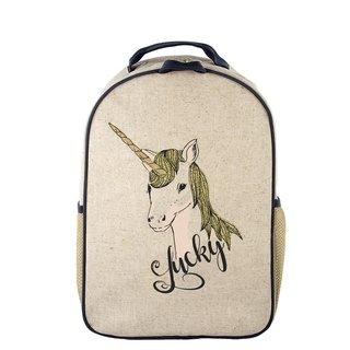 Lucky Unicorn Raw Linen Toddler Backpack
