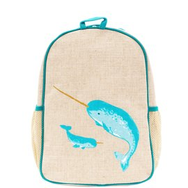 SoYoung Teal Narwhal Raw Linen Toddler Backpack