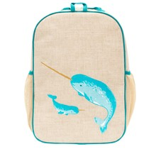 Teal Narwhal Raw Linen Gradeschool Backpack