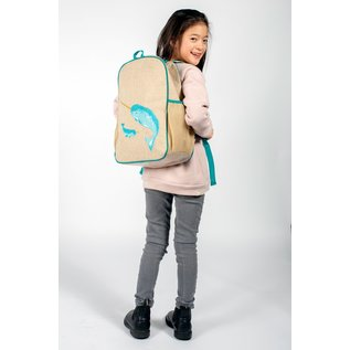 SoYoung Teal Narwhal Raw Linen Gradeschool Backpack