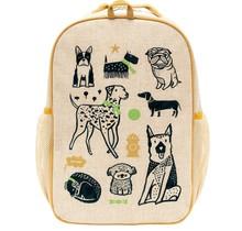Wee Gallery Pups Raw Linen Gradeschool Backpack