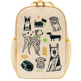 SoYoung Wee Gallery Pups Raw Linen Gradeschool Backpack