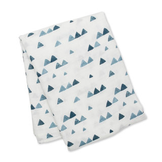 Navy Triangles Bamboo Muslin Swaddle