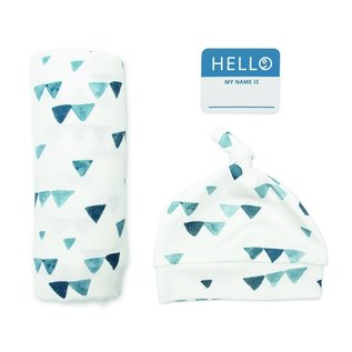 "Lulujo Navy Triangles ""Hello World"" Welcome Set"