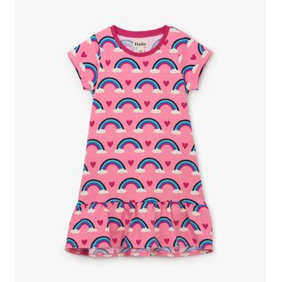 Hatley Hearts & Rainbows Jersey Flounce Hem Dress