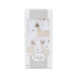 Lulujo Modern Llama Cotton Muslin Swaddle