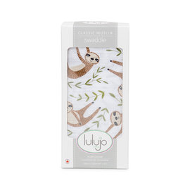 Lulujo Modern Sloth Cotton Muslin Swaddle