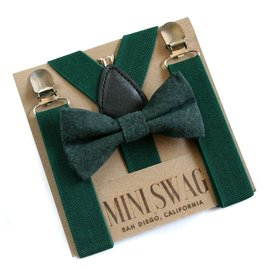 Mini Swag Solid Hunter Green Bow Tie & Suspenders Set
