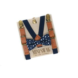 Mini Swag Navy Stars Bow Tie & Navy Leather Suspenders Set