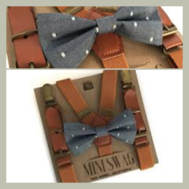 Mini Swag Chambray Dot Bow Tie & Camel Leather Suspenders Set