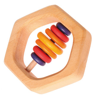 Hexagon Rattle with 7 Multi-Colour Discs