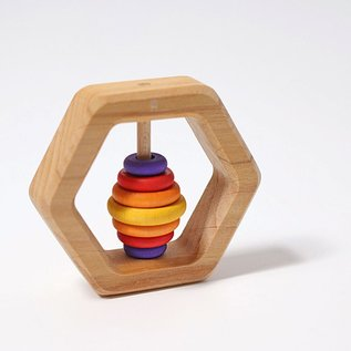 Grimm's Hexagon Rattle with 7 Multi-Colour Discs