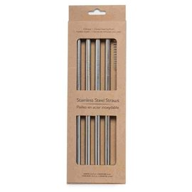 Life Without Waste Straight Stainless Straw + Brush, 4 pack