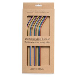 Life Without Waste Rainbow Bent Stainless Straw + Brush, 4 pack