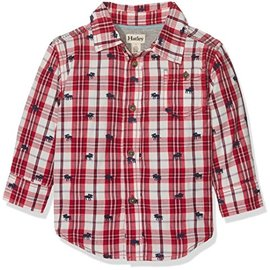 Hatley Moose on Plaid Baby Baby Button Down Shirt
