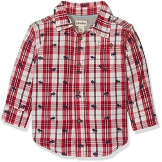 Moose on Plaid Baby Baby Button Down Shirt