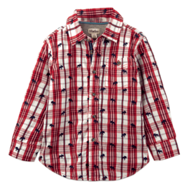 Hatley Moose on Plaid Baby Button Down Shirt