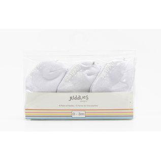 Juddlies White Infant Socks 6-Pack