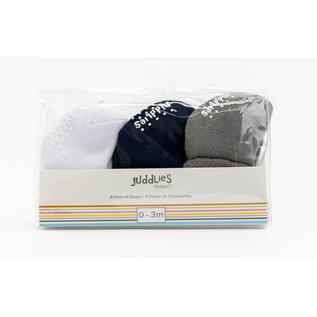 Juddlies Blue Multi Infant Socks 6-Pack