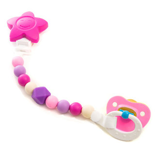 Pink Star Silicone Pacifier Clip