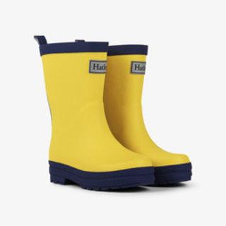 Yellow & Navy Matte Rain Boots