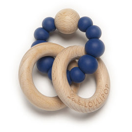 Loulou Lollipop True Blue Bubble Silicone & Wood Teether