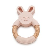 Blush Pink Bunny Silicone & Wood Teether