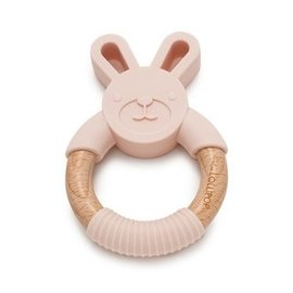 Loulou Lollipop Blush Pink Bunny Silicone & Wood Teether