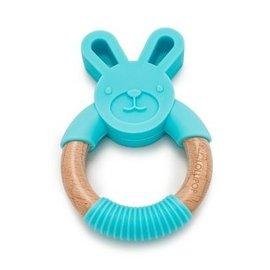 Loulou Lollipop Aqua Bunny Silicone & Wood Teether