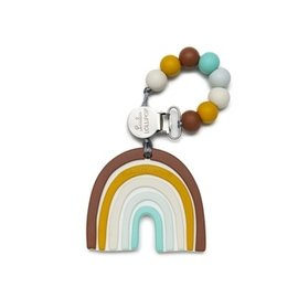 Loulou Lollipop Neutral Rainbow Silicone Teether & Clip Set