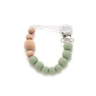 Loulou Lollipop Sage Green Colour Block Pacifier Clip