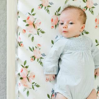 Little Unicorn Watercolour Roses Cotton Muslin Crib Sheet