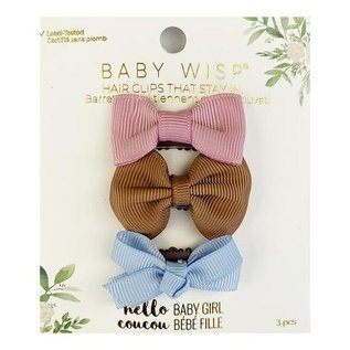 Mini Latch Bows, 3-pack, Rose, Saddle, Blue Bell