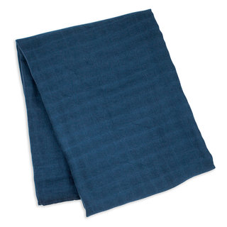Solid Navy Bamboo Muslin Swaddle