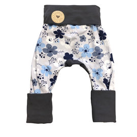 Frosty Flowers Grow With Me Pants, Grey, 6mo-3y